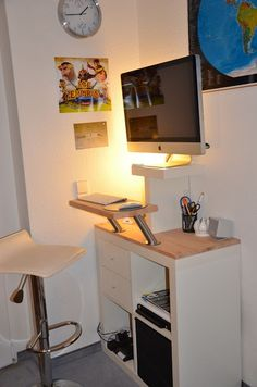 Materials: EXPEDIT Shelving unit 4x4 (white), 2x LACK Wall shelf 30x26cm (white), 79x39x1.8cm beech work plate, 50x24x25.cm beech work plate, 2 CAPITA console s