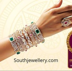 18 Carat gold diamond bangles studded with diamonds, rubies and emeralds by GRT Jewellers. GRT jewellery diamond bangles collection, diamond bangles weight and price Gold Bangles Design, Gold Jewellery Design, Gold Jewelry, Gold Necklace, Vintage Jewelry, Collar Necklace, Vintage Brooches, Crystal Jewelry, Jewelry Shop