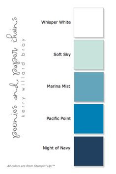 Stampin' Up! Five Color Combo ombre blues- white, soft sky, marina mist, pacific point, night of navy - quilt colors Ombre Color, Ink Color, Blue Ombre, Colour Schemes, Color Combinations, Colour Palettes, Color Trends, Colours That Go Together, Paper Chains