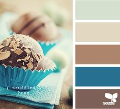 truffled hues - living room - add golden yellow for dining/kitchen, and charcoal for bedroom.  The blue is for nautical library.