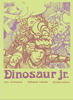 Dinosaur Jr. Rock Posters, Band Posters, Festival Posters, Concert Posters, Illustration Photo, Illustrations, Otitis Media, Dinosaur Jr, Vintage Music Posters