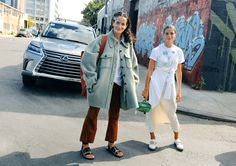 Lucy Chadwick in a Chloé coat and Marques'Almeida pants with a Céline bag and Emma Chadwick