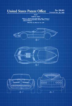 Mako Shark Corvette Patent 1966 - Patent Print Automobile Decor Vintage Automobile Art Classic Car Vintage Corvette Chevrolet Patent by PatentsAsPrints Decor Vintage, Vintage Cars, Vintage Ideas, Corvette Chevrolet, Chevy, Automobile, Patent Drawing, Best Classic Cars, Car Drawings