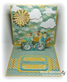 Art Impressions Pedal Pushers Girlfriends set (sku Pop up birthday card inside. Art Impressions Stamps, Window Cards, Pedal Pushers, Types Of Art, Craft Fairs, Homemade Cards, Making Ideas, Crafts To Make, I Card