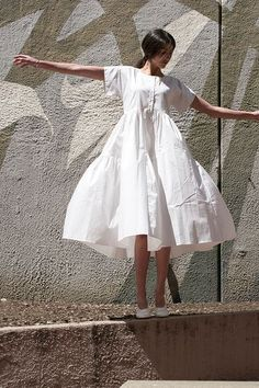 All white fluffed dress.