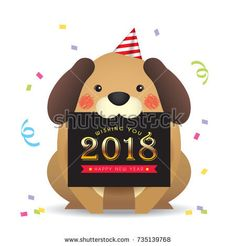 2018 New year template design. Cute cartoon dog with new year greetings card isolated on white background. Vector illustration.