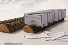 Half-Round Log Card Holder with Rough Bark Table Setting Rustic Wedding Display