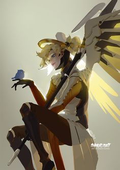 Mercy and a bird :)