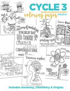 Science Coloring Pages | Classical Conversations Cycle 3, gorgeous 8.5x11 coloring pages for all ages. Read aloud or turn on an audiobook and color as you learn!