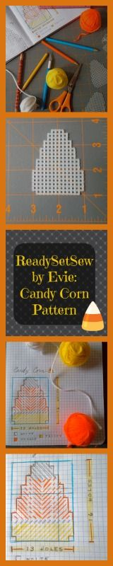 "Plastic Canvas Pattern: Candy Corn (ReadySetSew, by Evie) -- ""Ready"" and ""Set"" steps shown; look for ""Go"" pattern, too! :)"