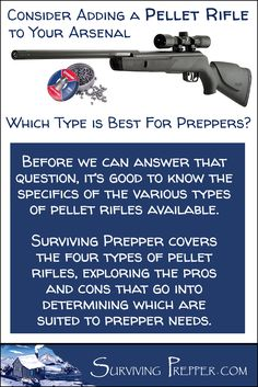 Surviving Prepper covers the four types of pellet rifles, and which type is best suited to the lifestyle and needs of preppers. via @https://www.pinterest.com/SurvivingPrep