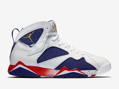 Uomo Nike Air Jordan 7 Retro Ottima Alternative 304775 123 Bianco Blu Re