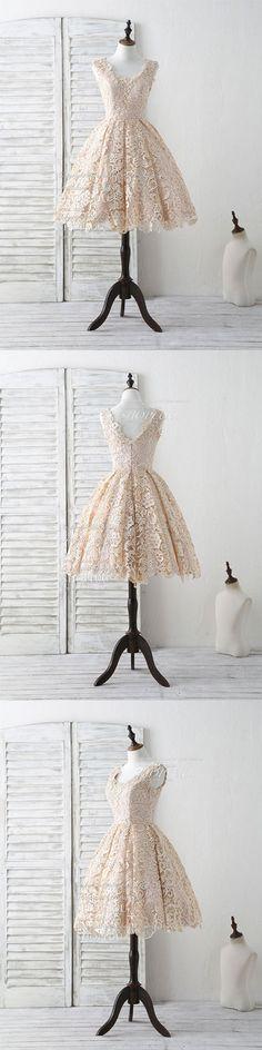 Champagne v neck lace short prom dress champagne bridesmaid dress