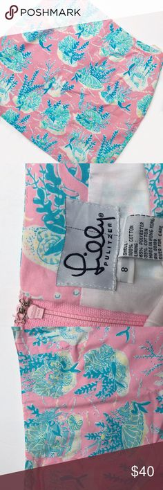 """{Lilly Pulitzer} White Tag Under The Sea Skirt ❃ excellent vintage condition  ❃ white tag ❃ 100% authentic   ✖️trades  ✔️offers  ✔️ bundles   Beach days are upon us, so now is the time to look pretty in pink in this """"under the sea"""" skirt! Vibrant and vintage, this tailored siren skirt is a perfect addition to your Lilly collection. Pretty blue mermaids and yellow sea shells cover the print, and the light airy cotton is perfect for summer! Last picture is compared to a size 8 and a size 4…"""