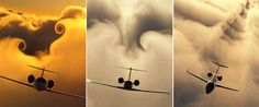 """Photos by Paul Bowen, Cessna Aircraft Company.    """"The amazing cloud 'downwash effect' forms around a passing Cessna airplane"""""""