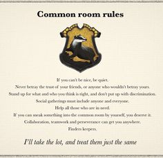 Hufflepuff common room rules