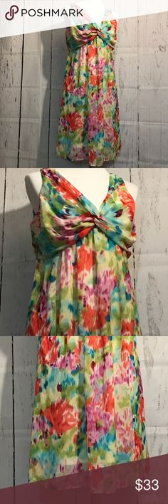 Dressbarn Sleeveless Multicolored Dress Dressbarn Sleeveless Multicolored Dress Like New Size 14 21 inches across the front armpit to armpit  37 inches in length shoulder to hem Sheer multicolored fabric Built in liner Gorgeous💕 Dress Barn Dresses