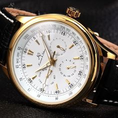 KS Man's Gift Automatic Mechanical Date Day White Gold Leather Mens Sport Watch
