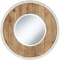 """The white trim would look great over subway tile in the boys bath.  Distressed White and Natural Wood 30"""" Round Wall Mirror"""