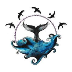 Circle Drawing - Whale and Waves - Ellen McCrimmon Smal Tattoo, Et Tattoo, Sketch Tattoo, Et Wallpaper, Circle Drawing, Whale Art, Symbol Tattoos, Whale Tattoos, Tatoos