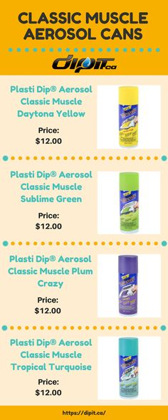 If you want to purchase Classic Muscle Aerosol Cans then DipIt.ca is the best option for Plasti Dip products. Watch the infographic for more products. Dips, Infographic, Muscle, Good Things, Canning, Watch, Classic, Color, Products