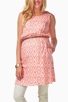 Peach-White-Tribal-Print-Belted-Maternity-Top #maternity #fashion
