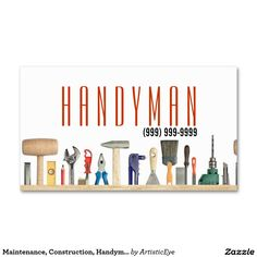 Handyman business card samples pinterest free business cards maintenance construction handyman business card fbccfo Images