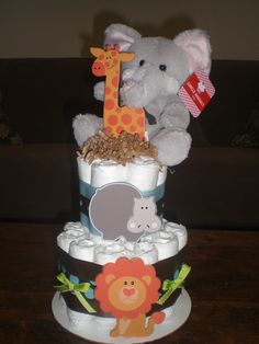 Safari Jungle Theme Diaper Cake Baby Shower Centerpiece two tier with animal other colors and sizes too. $25.00, via Etsy.