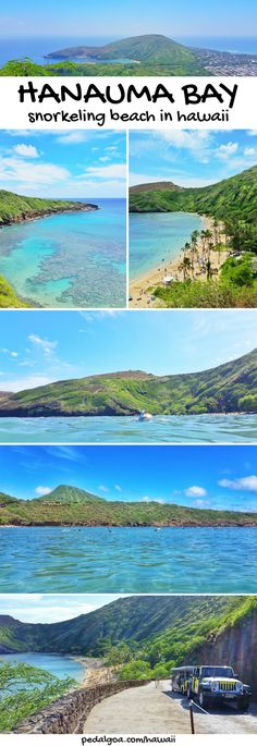 Hanauma Bay - Best beaches for snorkeling spots in Oahu. These are some Hawaii travel tips. US beaches in Oahu Hawaii, there are activities like swimming, snorkeling with turtles and fish! Best Oahu beaches give you things to do with nearby hiking trails, food, and shopping. USA travel destinations for bucket list for world adventures when on a budget! So outside of Waikiki and Honolulu, put on the Hawaii itinerary! Snorkeling gear to Hawaii packing list, what to wear in Hawaii. #hawaii…