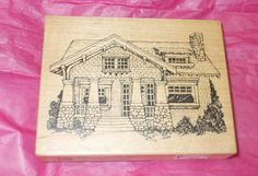 PSX Heirloom collection cottage house rubber stamp HC 1947 wood Mounted card making paper crafts Made in USA by NoodlesNotions on Etsy