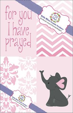 For You I Have Prayed  Pink Elephant  Nursery by ErinMizeDesigns