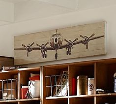 Small Planked Airplane Panels #potterybarn. My Christmas gift, 2014. It's hanging in my office.