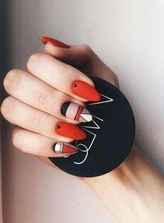 30 Amazing Matte Nail Designs You'll Want to Copy - Matte geometric nail art Nail Design Stiletto, Nail Design Glitter, Nails Design, Design Design, Abstract Nail Art, Geometric Nail Art, Perfect Nails, Gorgeous Nails, Red Nail Designs