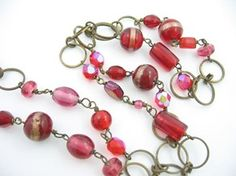 Red Glass Bead Necklace Vintage Dark Goldtone Variety AB, Glitter, 36""