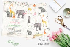 Watercolor Zoo Animals and Confetti Custom Birthday Party Invitation - Hand Painted Boy Girl Joint Twins Elephant Giraffe Matching Back Side