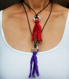 Sari Ribbon Tassel & Leather Necklace | Recycled Fair Trade Sari Silk | Upcycled Jewelry | Eco-Friendly | Hippie Boho | ITEM 13D by SeaRanchJewelry on Etsy