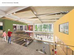 The Hub — community gathering space. Chiaravalle Montessori School in Evanston, IL