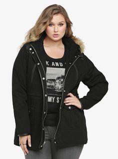 Faux Fur Trim Anorak  Jacket, DEEP BLACK