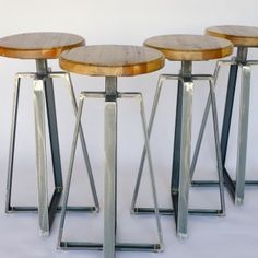 restaurant bar stools; custom restaurant furniture; steel furniture; steels furniture; rustic reclaimed wood furniture; Channel iron stool; ...