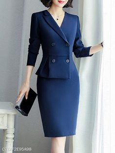 V-Neck Double Breasted Plain Bodycon Dress Work Dresses For Women, Suits For Women, Clothes For Women, Classy Work Outfits, Classy Dress, Dress Suits, Blazer Dress, Professional Outfits, Work Attire