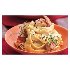 Lobster Pasta with Herbed Cream Sauce ❤ liked on Polyvore featuring home and kitchen & dining