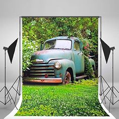 5x7ft(150x210cm) Green Spring Photo Backgrounds White Flowers Grassland Floor Photography Backdrops Retro Car Boys Background