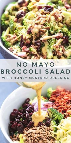 Best Broccoli Salad (No Mayo) recipe packed with crispy broccoli, bacon, onion, dried cranberries, and crunchy sunflower seeds and honey mustard dressing. Best Broccoli Salad Recipe, Healthy Broccoli Salad, Healthy Salad Recipes, Paleo Recipes, Brocolli Salad, Broccoli Salad With Bacon, Spinach Salad, Broccoli Salad With Cranberries, Broccoli Slaw Recipes