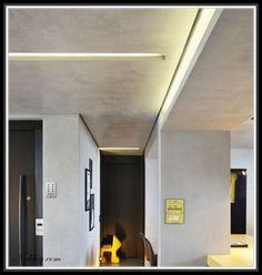 Best Ceiling Designs, Concrete Ceiling, Corridor Design, Commercial Interiors, Bedroom Inspo, New Homes, House Design, Lights, Contemporary