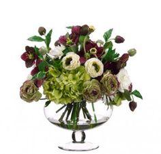 Cream & Violet Silk Flower Arrangement with Roses and Hydrangeas ARWF2885