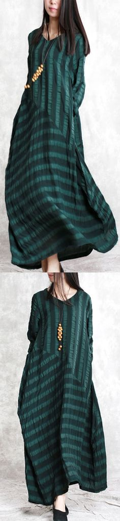 51e74e3149 Elegant blackish green natural linen dress plus size clothing patchwork  traveling clothing 2018jacquard linen caftans