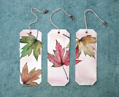 Freshly painted autumn leaves with watercolor. Creative Bookmarks, Cute Bookmarks, Bookmark Craft, How To Make Bookmarks, Paper Bookmarks, Watercolor Bookmarks, Watercolor Cards, Watercolour, Watercolor Paintings For Beginners
