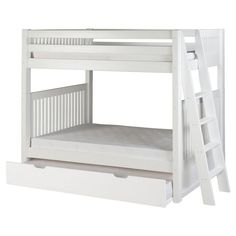 Camaflexi Mission Headboard Twin over Twin Bunk Bed with Lateral Angle Ladder - C913LTR