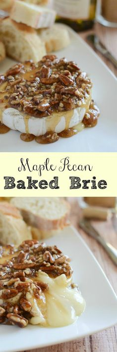 Maple Pecan Baked Brie - an easy and impressive appetizer recipe! Perfect appetizer to serve during the holidays..