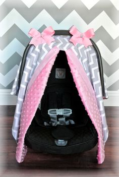 MINKY, carseat canopy, car seat cover, light PINK, gray, GREY, white, chevron, polka dots, bows, baby, girl, baby girl, baby boy, infant boy...